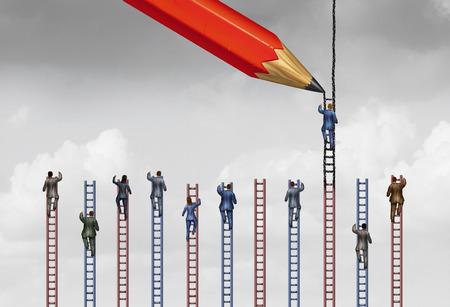 competencia: Aparejado sistema o práctica comercial desleal como un hombre de negocios o una persona ha quedado marcada por un lápiz útil que está llegando una escalera más alta para el éxito y la victoria sobre su competencia con elementos de ilustración 3D.