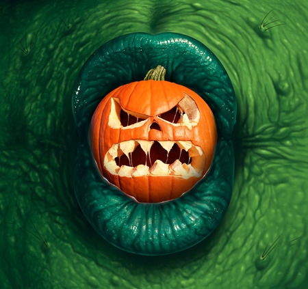 3d scary: Halloween monster jack o lantern as a green witch or ogre character biting into a pumpkin with a scary expression in a 3D illustration style.