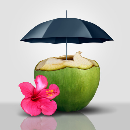 Vacation security symbol as a coconut tropical drink protected and covered with an umbrella as a travel and tourism safety guarantee concept with 3D illustration elements.