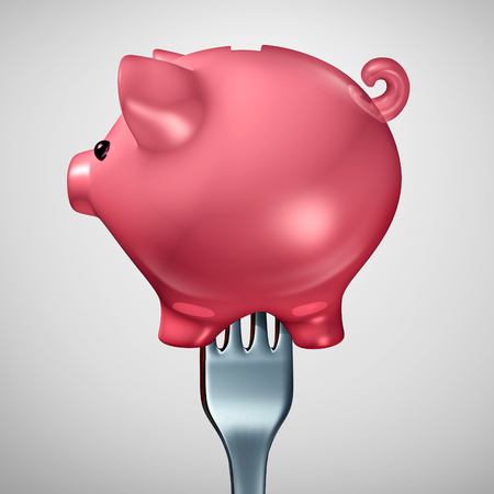excess: Economic investment appetite as a fork inside a financial piggybank symbol or piggy bank icon as a financial concept for greed or investment consumerism as a 3D illustration.