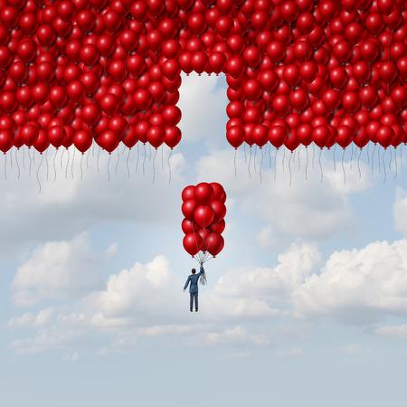 koncept: Pełna koncepcja biznesowa rozwiązaniem jako biznesmen z grupą balonów jako brakującej części większej organizacji jako koncepcji integracji i metaforę montażu z elementami 3D ilustracji.