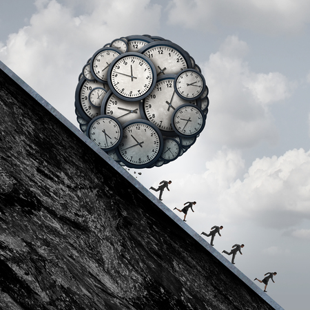 desperate: Business deadline stress concept as a group of desperate employees or working people running away from a ball made of clock objects as an overtime metaphor and stress in the workplace with 3D illustration elements.