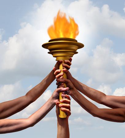 Le persone in possesso di un simbolo della fiamma della torcia come un gruppo di diversi atleti o membri della comunità che aderiscono a sollevare un oggetto cresset insieme per la cerimonia sport o un faro per l'amicizia con gli elementi 3d illustrazione. Archivio Fotografico