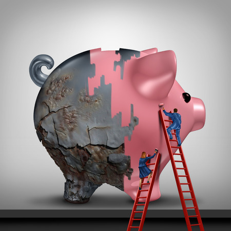 saving accounts: Financial credit recovery busness concept as a woman and man as bank or banking advisors repairing an old rusted piggy bank with a fresh coat of paint as a savings improvement metaphor with 3D illustration elements.