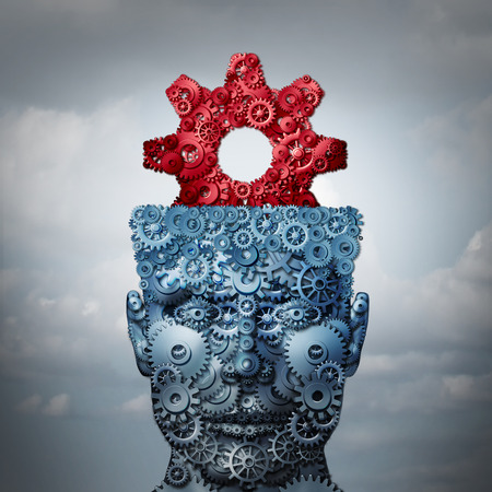 strategist: Business intelligence and innovation technologies concept as a metaphor for creative industry imagination or engineering creativity icon as a 3D illustration. Stock Photo