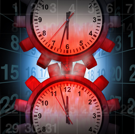 friction: Work Schedule Stress concept as clocks shaped as gears creating friction causing pressure and overload as a business problem metaphor as a 3D illustration. Stock Photo
