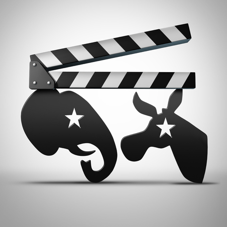 campaigning: American election media and political news on television symbol as a movie or video clapboard shaped as a generic elephant and donkey as a 3D illustration.