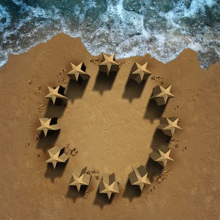 frail: European union crisis and unity problems with beach sand shaped as the stars of the Europe flag eroding the economic and political structure causing membership stress as symbols for Greece Italy Spain Germany France and Britain brexit with 3D illustration