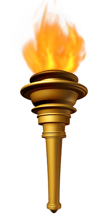 Torch flame symbol as a flaring cresset emblem for sport ceremony or a beacon for triumph and hope as a metaphor for liberty and freedom as a 3D illustration on a white beckground. Stock Photo