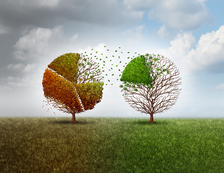 financial metaphor: Investing in new business and invest in an economic future while divesting in old industry as a financial metaphor with an old tree shaped as a finance pie chart graph funding another vibrant green tree with 3D illustration elements.