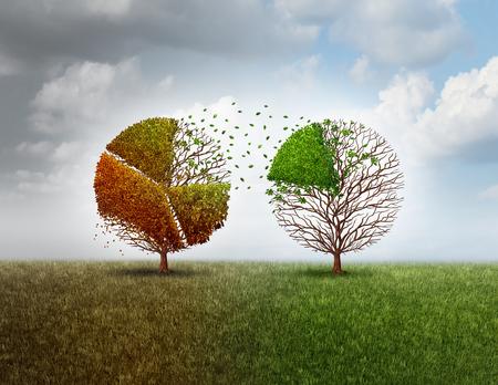 Investir dans de nouvelles entreprises et d'investir dans un avenir économique tout en se départissant dans la vieille industrie comme une métaphore financière avec un vieil arbre en forme de tableau graphique circulaire finance financement autre arbre vert vif avec des éléments d'illustration 3D.