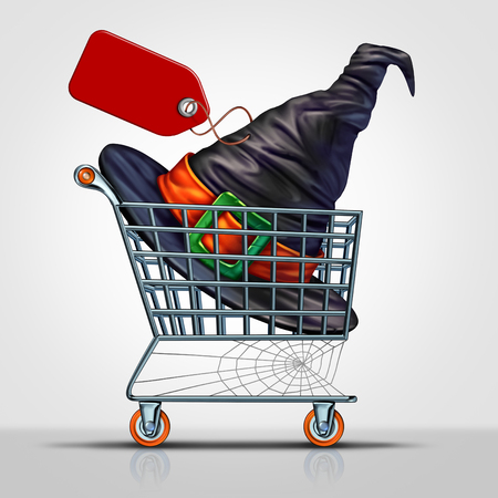 Halloween sale concept and costume shopping symbol as a shop cart with the hat of a witch inside with a price tag as an icon for fall season discounts on clothing with 3D illustration elements. Stock Photo