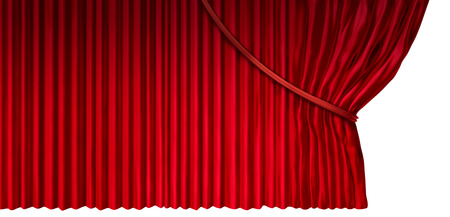 drapes: Curtain reveal as cinema or theater drapes with red velvet material opened on the side as a design element for a presentation or anouncement isolated on a white background as a 3D illustration. Stock Photo