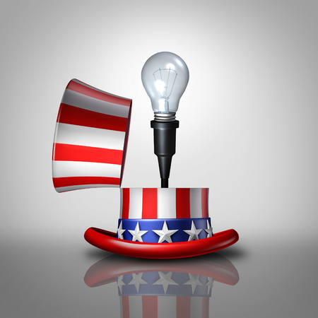 invent clever: American idea concept as an open United States flag hat with a lightbulb emerging out as a national symbol for invention and creative ideas or election campaign policy strategy as a 3D illustration. Stock Photo