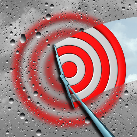 Concept of target as a blurry wet bulls eye dart target board being cleaned by a wiper as a business metaphor for clear focus or focused aim icon as a 3D illustration. Foto de archivo