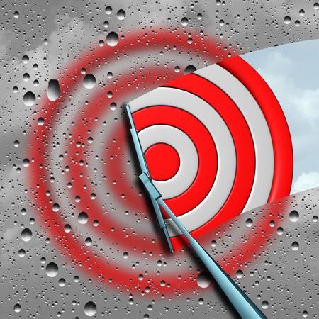Concepto de destino como una diana de dardos húmeda placa de destino ojo borrosa que es limpiada por el limpiaparabrisas como una metáfora de negocios para un enfoque claro o icono objetivo se centró como una ilustración 3D. Foto de archivo
