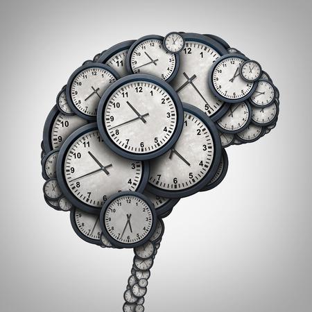 cronologia: Tiempo pensamiento del cerebro concepto como un grupo de objetos con forma de reloj como una mente humana como la puntualidad y el nombramiento de negocios metáfora de la tensión o presión de tiempo y el icono de las horas extraordinarias como una ilustración 3D. Foto de archivo
