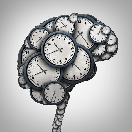 Time brain thinking concept as a group of clock objects shaped as a human mind as a business punctuality and appointment stress metaphor or deadline pressure and overtime icon as a 3D illustration. Zdjęcie Seryjne - 64818605