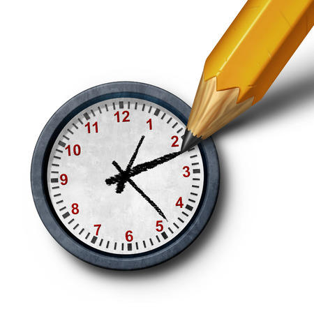 override: Planning time business management schedule concept as a pencil drawing the hour and minute hands on a clock as a control metaphor as a 3D illustration. Stock Photo