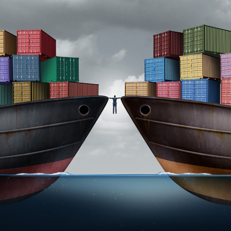 import trade: Trade balance business concept as a businessman balancing between two ships with container freight cargo as an export and import logistic management symbol or trade dispute with 3D illustration elements.