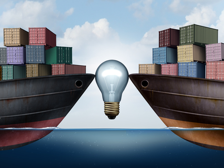 Shipping logistics or trade agreement idea with a lightbulb between two ships carrying cargo freight as a symbol for transport management solutions and export import economic strategies with 3D illustration elements.