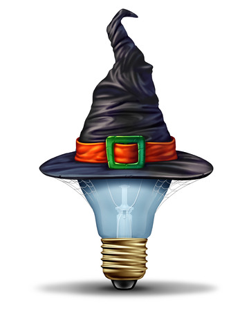 autumn background: Halloween ideas concept as a lightbulb wearing a costume witch or sorcerer hat as an autumn festive seasonal symbol for creative october season celebration with 3D illustration elements. Stock Photo