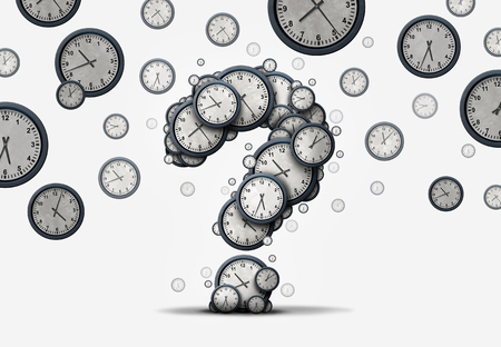 cronologia: Tiempo preguntas concepto como un grupo de relojes y relojes flotantes formadas como un signo de interrogación como una metáfora de la fecha límite o agenda de negocios confusión o información de la cita corporativa como una ilustración 3D. Foto de archivo