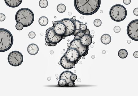 Time vragen begrip als een groep van drijvende klokken en uurwerken in de vorm van een vraagteken als een metafoor voor de deadline of zakelijke schema verwarring of zakelijke afspraak informatie als een 3D-afbeelding. Stockfoto