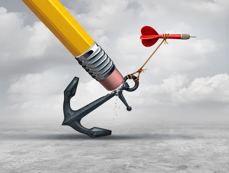 intervention: Removing restrictions and eliminating obstacles to achieving goals as a pencil erasing a heavy restrictive anchor holding down a flying dart as a business metaphor for success intervention with 3D illustration elements.