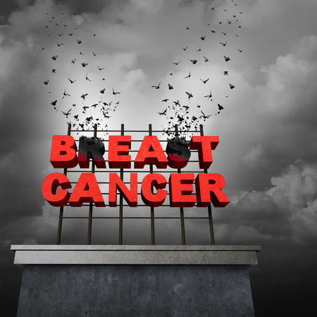 cancer research: Beat cancer awareness concept and freedom from a malignant breast tumor medical symbol as text on a sign tranforming into flying birds as a medicine cure and research treatment success symbol with 3D illustration elements. Stock Photo