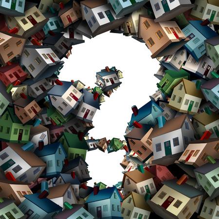 preguntas de casa y un símbolo de negocio de bienes raíces de la incertidumbre de la industria de la construcción de viviendas con un grupo de casas con forma de signo de interrogación como ilustración 3D sobre un fondo blanco.