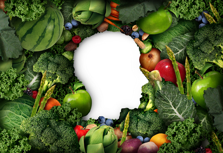 vegetarianism: Fruit and vegetable thinking for human healthy diet concept as farm fresh produce shaped as a head symbol with vegetables and healthy natural food in a 3D illustration style. Stock Photo