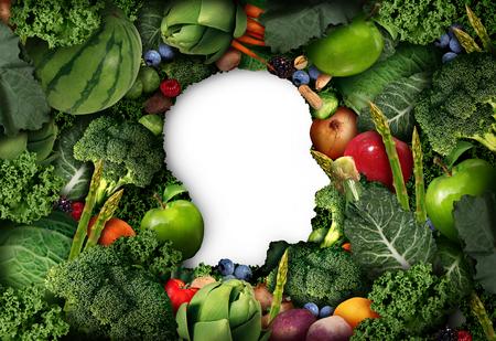 dieta sana: Frutas y verduras pensamiento por concepto de dieta sana humana como en forma de productos agrícolas frescos como símbolo cabeza con verduras y alimentos naturales sanos en un ejemplo del estilo 3D. Foto de archivo