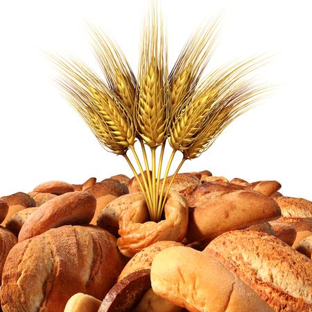 小麦と食品、白い背景で隔離の 3 D 図要素を持つ農業のシンボルとして多彩な自然の穀物、オート麦と焼きたてパン。