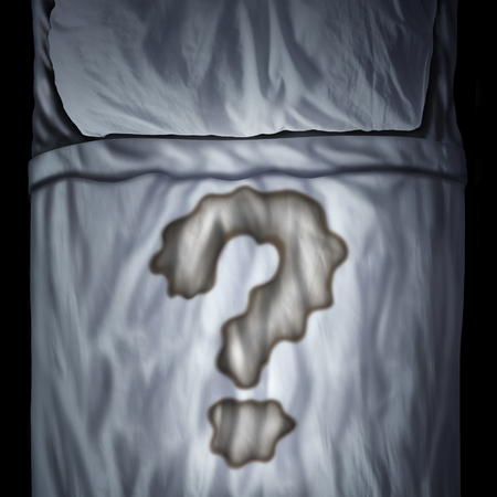 Bed wetting problem or bedwetting questions as a fluid stain on a mattress shaped as a question mark as a medical bladder health trouble or psychological issue durind sleep in a 3D illustration style. Stock Photo