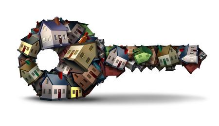 conceito-chave casa e Casa ideia propriedade símbolo solução e residência como um grupo de casas de família em forma de uma ferramenta de segurança como uma ilustração 3D em um fundo branco.