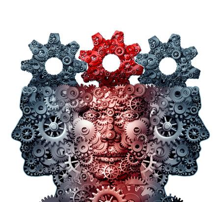 Un groupe d'entreprises intelligence et de penser l'équipe du réservoir technologies d'innovation concept comme une métaphore pour une collaboration avec l'industrie créative et le travail d'équipe imagination ou de l'ingénierie de partenariat créativité icône comme une illustration 3D. Banque d'images - 64818626