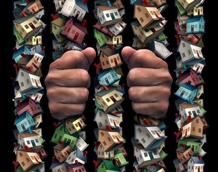 バーの後ろに囚人として刑務所コンセプトは家および不動産抵当負債や 3 D の図要素を持つ金融ローン負担シンボル レジデンス アイコンから成って