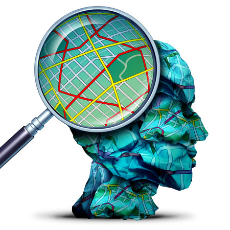 Travel concept as a magnifying lense looking at a map from a group of crumpled maps as a human journey and navigation symbol with 3D illustration elements.