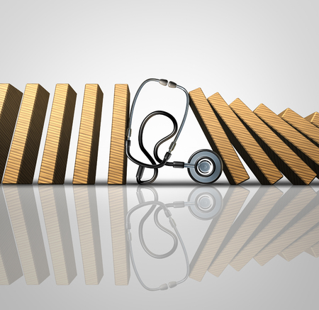 Medical treatment symbol as a hospital doctor stethoscope stopping domino pieces from falling further as a metaphor for treating a patient with proper diagnosis of symptoms as a 3D illustration. Stock Photo