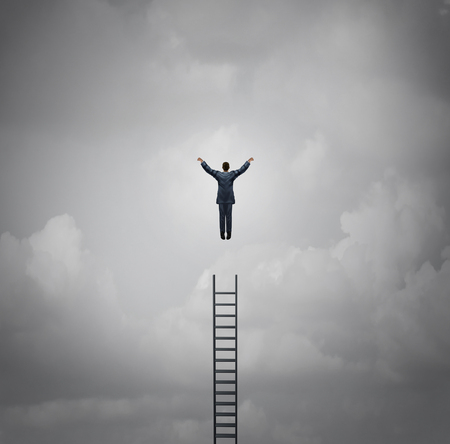 success business: Business success motivation concept as a businessman levitating above a ladder as a leadership and growth metaphor with 3d illustration elements.