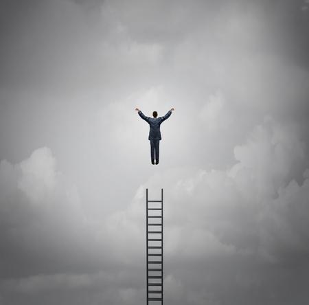 El éxito del negocio concepto de la motivación como un hombre de negocios levitando sobre una escalera como una metáfora de liderazgo y crecimiento con elementos de ilustración 3d. Foto de archivo