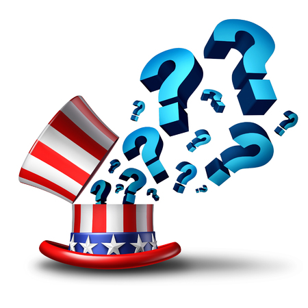 voting decision: United States election question and American government questions as a 3D illustration representing policy and legislation confusion or voting decision choice on a white background.