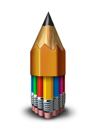 unify: Learning group and team education concept as many diverse pencils grouped together inside one big pencil as a symbol for student school faculty union or voting community working together for success as a 3D illustration. Stock Photo