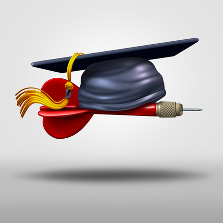 Graduation goal concept as a school graduate mortar cap on a flying dart as an education success strategy icon and metaphor or focused training target symbol as a 3D illustration.