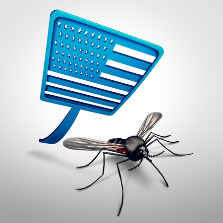 Zika in the United States concept as a mosquito being swatted by a fly swatter as a dangerous virus medical health crisis and public health concern or pest control with 3D illustration elements.