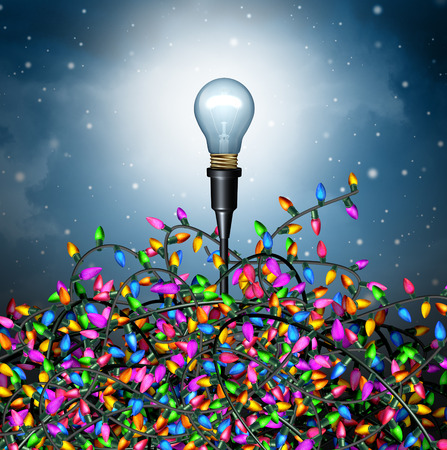 seasonal symbol: Winter holiday ideas as a seasonal concept with a lightbulb emerging from a group of confused tangled christmas lights as symbol for decorating ideas or gift giving solution icon as a 3D illustration.