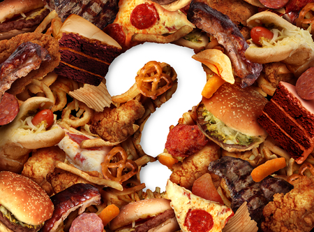 Unhealthy food choice concept and dieting questions concept and diet worries with greasy fried fast food take out as burgers hot dogs with fried chicken cake and pizza shaped as a question mark for eating uncertainty in a 3D illustration style.