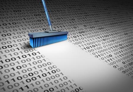 Eliminación del concepto de tecnología de datos como una escoba que limpia el código binario limpio como un símbolo de seguridad cibernética para el borrado de información de la computadora o para borrar un correo electrónico y limpiar un servidor de disco duro con elementos de ilustración 3D.