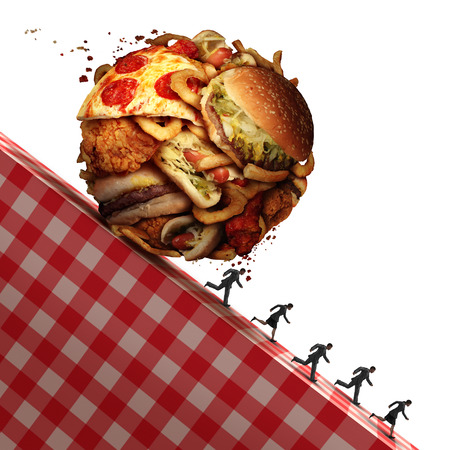 Cholesterol health danger as Junk food eating and dealing with a nutrition medical urgency concept as people running away to avoid an unhealthy diet with a ball made of greasy snacks as hamburgers and french fries with 3D illustration elements.